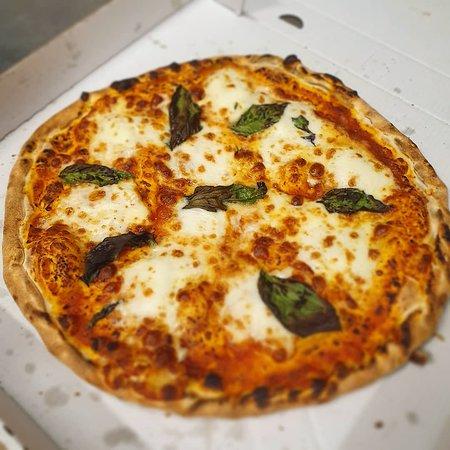 Margherita pizza made with buffalo mozzarella at Stromboli's Pizza Bilgola Plateau