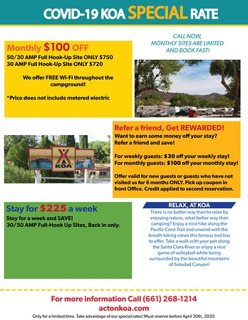 We take pride in our customer service at Acton KOA, therefore we are offering SPECIAL RATES during this time of stress to hopefully help families out financially. Check out our special offers going on!  If you are camping with your RV, you will want to take advantage of these rates. See you soon!