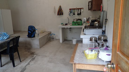 The kitchen is downstairs and has everything we needed.