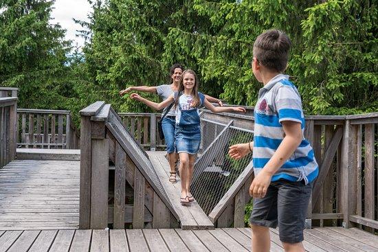 Kopfing im Innkreis, Austria: Kinder balancieren über einen Holzbalken