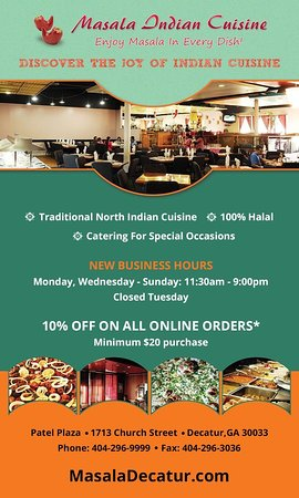 WE ARE OPEN FOR BUSINESS! New Business Hours • Now Offering Beer To Go • 10% Discount On All Online Orders masaladecatur.com