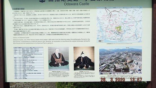 小田原城についての説明板。
