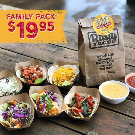 Family Pack Carryout Special #1: 6 Tacos, Chips, Salsa & Queso