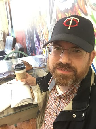 Here I am doing a little writing while enjoying some fresh brewed coffee at Local Bean in Hudson on March 17. 2020
