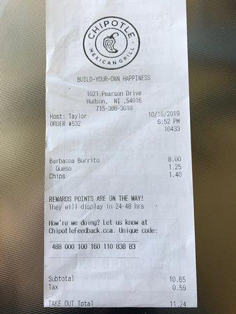 10-16-19 Chipotle receipt.