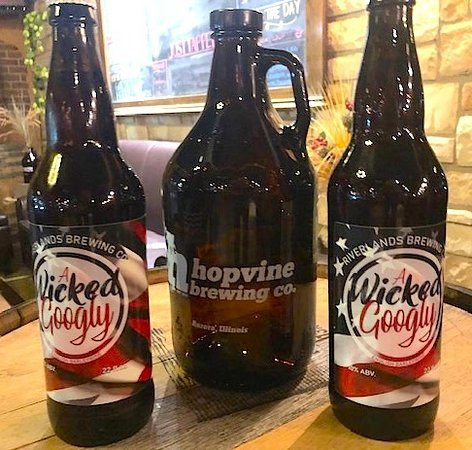 Bombers and growlers available to take home.