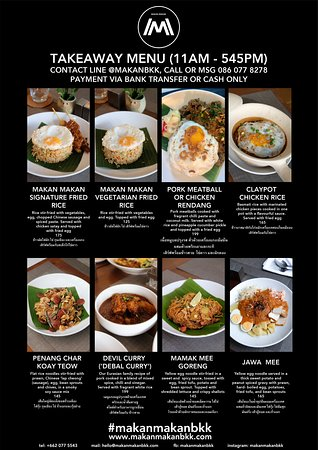 Hi Everyone. Due to the ongoing situation we've had to reduce our menu, along with our open hours. Technically the restaurant is closing for April, but we'll still be cooking for everyone who needs their fix of Makan. For takeaway or delivery orders, please contact us via Line @makanbkk, or call/msg to 086 077 8278. We're still making specials from time to time, and will post them here for pre-orders. Live long & prosper.