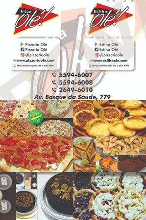 État de São Paulo : Experimente!!! Pizzas, esfihas, kibes, mousses e tortas. Vários sabores para você escolher e saborear. 🍕🍺🥤🍕🌱🍺🥤🍕 Peça pelo APP, site ou telefone!  APP: Pizzaria Olé APP: Esfiha Olé Site: www.pizzariaole.com Site: www.esfihaole.com Fone: 5594-6007; 5594-6008 e 2649-6010 Insta: @pizzariaole