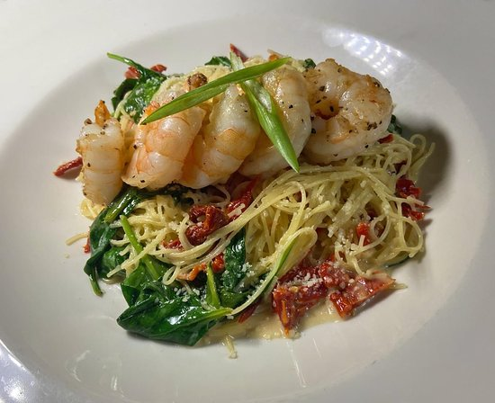 East Otis, MA: Shrimp Scampi with sun-dried tomatoes, spinach and angel hair pasta!
