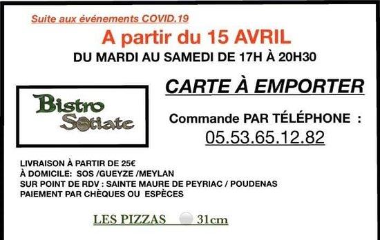 Sos, França: Covid 19 uniquement à emporter  Pizzas artisanales /poulet fermier /frites maison