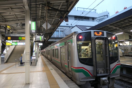 東照宮駅を通る仙山線の車両