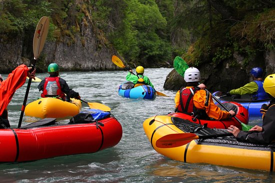Bevy of Boats, Group Tour Pack Rafting Six Mile Creek, Hope, Alaska in July.