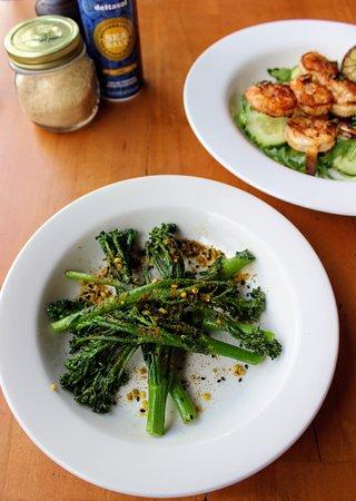 Errol's Cafe: Stir fried broccolini topped with housemade hazlenut dukkah