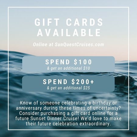 For a limited time, receive an additional onboard when purchasing a gift card online prior to April 30, 2020.