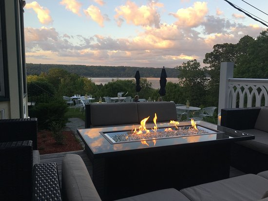 Views of the lake from virtually every part of the campus. Relax on the outdoor patio of the Victorian Inn and enjoy the views in front of our fire pit.