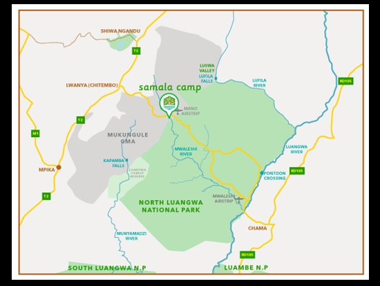 North Luangwa National Park, Zambia: Location Map