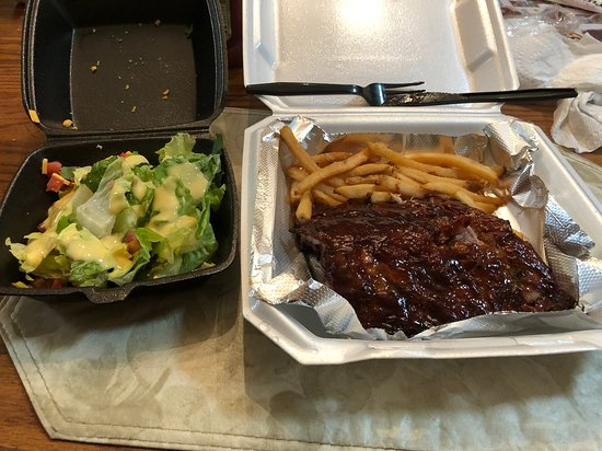 BBQ ribs, French fries and a garden salad.
