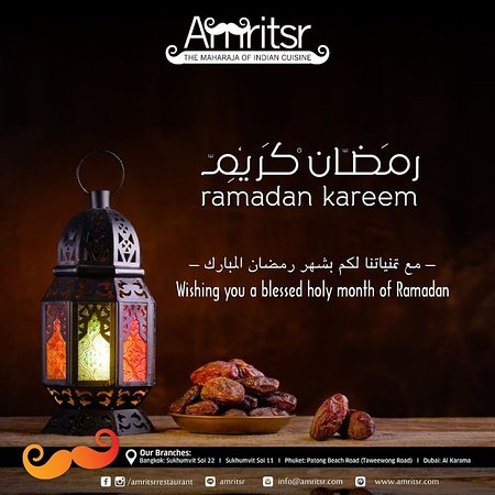 """"""" The remembrance of Almighty brings Tranquility to hearts.'  Order Online - http://bit.ly/2qsgEiz  We are the ONLY Amritsari restaurant which delivers anywhere in Bangkok and we are OPEN from 9 am to 9 pm  #Amritsr #AmritsrBangkok #Sukhumvit #Soi11 #Soi22 #Phuket #Ramadan #RamadanMubarak #Wishes #Greetings #Online #OnlineOrder #OrderOnline #FoodOnline #Foodie #FoodLover #Bangkok #Thailand #BangkokFoodie #BangkokFoodies #quarantine #BangkokThailand #IndianFood #PunjabiFood #AmritsariFood"""