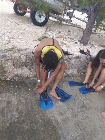 Getting ready to snorkel