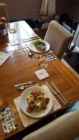 Broseley, UK: Asparagus and salami salad and blue cheese and caramelised onion tart