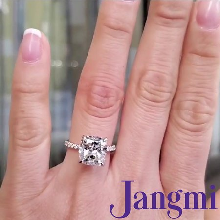 4ct cushion cut on our two tone love fancy pave setting