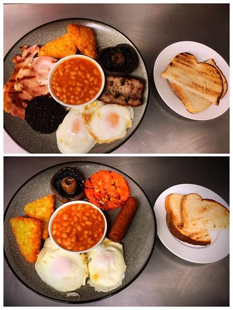Full English Breakfast & A Vegetarian Breakfast served with toast