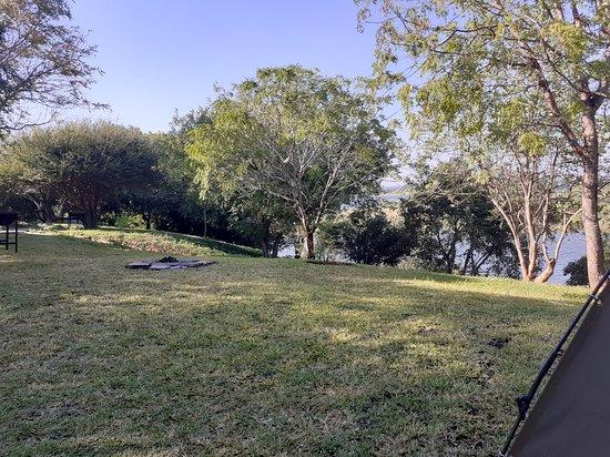 Nsofu - Lower Zambezi: View from the tents to the Kafue/Zambezi confluence
