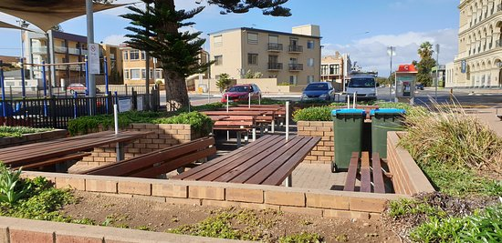 Largs Bay Jetty SA  kiosk seating closed off due to COVID19 restrictions