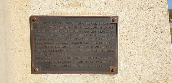 Largs Bay Jetty SA  plaque on cairn celebrating centenary of largs bay