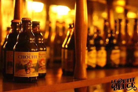 Beer selection at Le Petit Belge