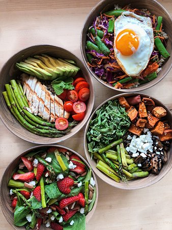 Krush Your Own Bowl, Salad or Wrap with over 55 ingredients and seasonal offerings to top with!