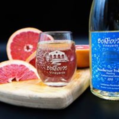 Our carbonated off-dry Riesling has a pear aroma and flavors of melon and pear and a hint of grapefruit with a nice mouth-watering lingering finish.