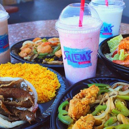 Classic Gyro with Rice & Strawberry Milkshake (left)