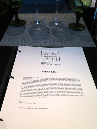 ANZU on the Mezzanine of the Hotel Nikko, at 222 Mason St, on the edge of San Francisco's Union Square - Wines
