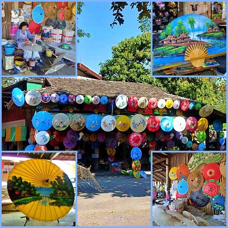 Colourful umbrellas at the village of Bo Sang Thailand, you can see the making from begin to end of ricepaper umbrellas. Pictures are taken during our roundtrip Thailand.