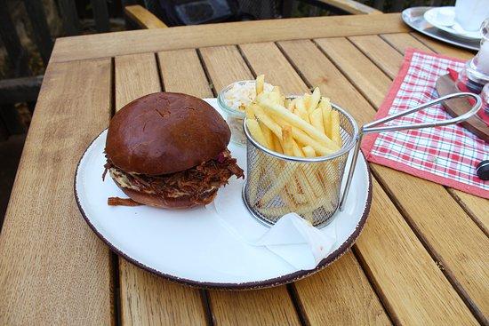 Trhaný barbeque burger s hranolkami