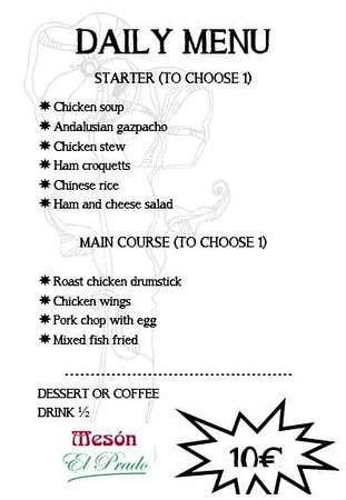 Our menu for today Friday May 29.