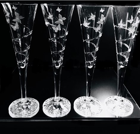 Butterfly champagne glasses