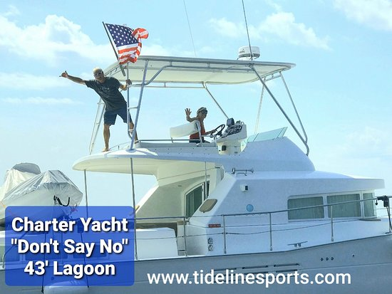 """Gulf Breeze, FL: New for 2020 ~ Private Yacht Charter aboard this 43' Lagoon Catamaran Motor Yacht ~ """"Don't Say No"""" Available for Day & Overnight Charters. Clean, Comfortable 3 Stateroom, 3 Head with recent upgrades. Ideal for Family Fun, Water Sports & Cruising our Gulf Coast."""