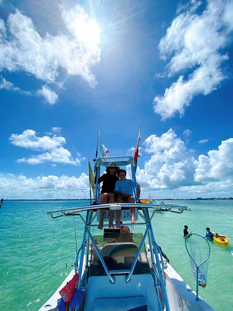 Captain Charlie took us to the sandbar with crystal clear waters where we swam, hung out on the boat and kayaked!