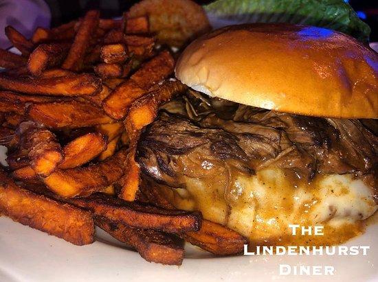 Short Rib Burger with Sweet Potato Fries