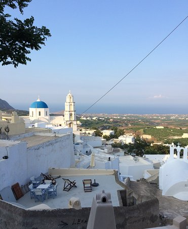 Pirgos was the capital of the island until 1800 AD.  Pyrgos is the highest village in Santorini, which dominates the slope of Profitis Ilias and supervises the whole of Santorini.