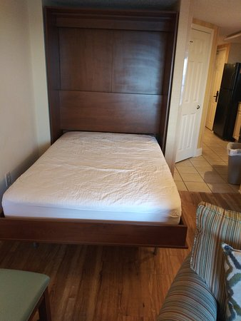 Suite 209, the Murphy Bed that pulls out of the Wall in the Living Room for extra sleeping accommodations.
