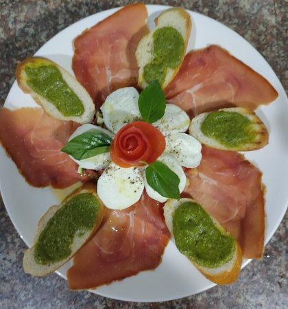 Serrano ham with Buffalo mozzarella