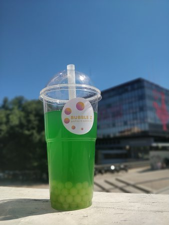 bulle tea kiwi, thé vert, perle citron