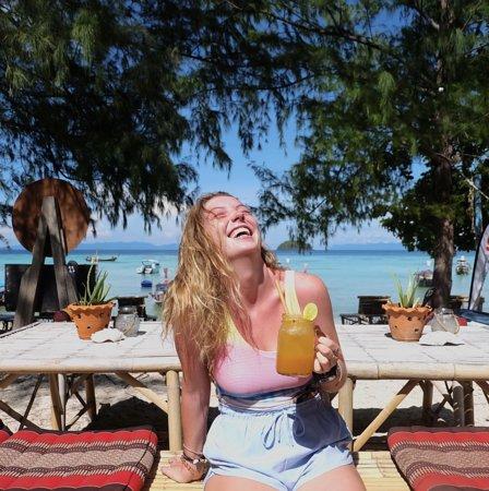 Katy enjoying a Passionfruit soda