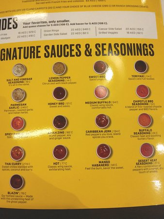 The list of Buffalo Wild Wings Signature Sauces! 😋
