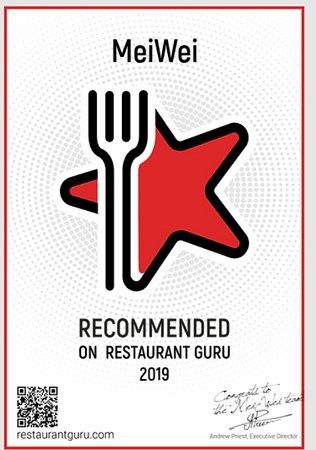 MeiWei: Utmerkelse fra Restaurant Guru