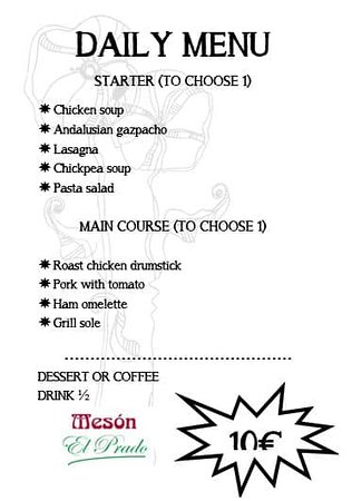 Our menu today Wednesday June 3..