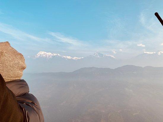 Misty Annapurna Mountains via hot air balloon